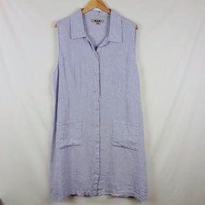 Flax 100% Linen oversized dress lavender